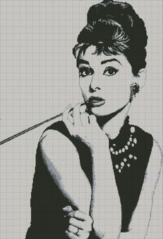 point de croix femme , cross stitch woman - audrey hepburn