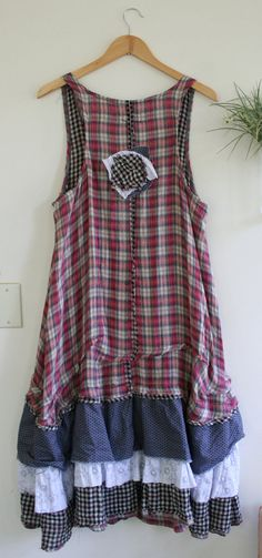 Recycled Dress / Plaid 'Maryse' Dress / By