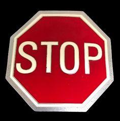 Red Street Stop Road Sign Belt Buckle Buckles