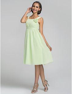 A-line Straps Knee-length Chiffon Bridesmaid Dress (663651) – GBP £ 58.39