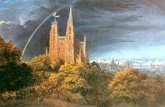 16 Schinkel Karl Friedrich von, Middeleeuwse stad aan een rivier, 1815 symbolisch.jpg
