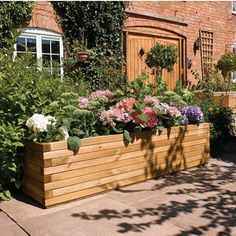 Millwood Pines Azucena Wood Raised Garden with Trellis Large Wooden Planters, Wooden Patios, Wooden Planter Boxes, Rectangular Planters, Wooden Trough, Planter Box Plans, Raised Planter Boxes, Trough Planters, Patio Planters
