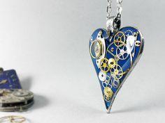 Dark blue resin steampunk heart pendant, steam punk necklace, love gift for girlfriend, women fashion trend romantic heart,