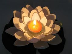 floating lotus candles for pool wedding   25 White Floating Lotus Flower with Candle Wedding Decoration [we-f138 ...