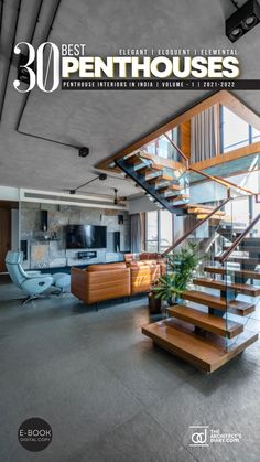 30 Best Penthouses in India is a collection of amazing Elegant, Eloquent, Elemental Penthouse Interiors in india Staircase Interior Design, Home Stairs Design, Lobby Interior, House Design, Stairs In Living Room, House Stairs, Modern Architecture House, Model Homes, Living Room Designs