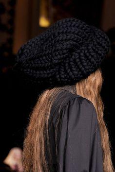 black knit beanie.