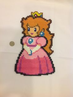 Princess Peach Perler Beads | Princess Peach from Paper Mario - Perler Bead Sprite