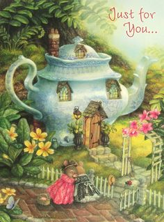 Susan Wheeler Holly Pond Hill Mouse Tea Pot Home Flowers Birthday Greeting Card