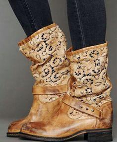 Beautiful brown lace long boots   Fashion World