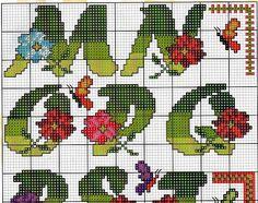 alfabeto flores e borboletas