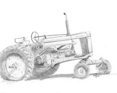 """""""Row Crop Johnny"""" by David King I made this pencil sketch of an old John Deere row crop tractor on location at Wheeler Farm in Murray, Utah. Tractors are one of my favorite subjects to sketch!"""