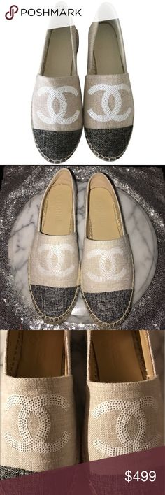 Chanel Sequin Logo Canvas Espadrilles Flat Shoe 10 Chanel Sequin Logo shoe from their 2016 Cruise collection!! Stamped size EUR 40 which equals US 9-10. These are in EXCELLENT condition. Worn only a handful of times! Only sign of wear is on the bottom left sole, has some discoloration from the way I was storing them. Other than that- IMMACULATE! All sequins still attached and NO markings or discoloration to canvas!These are priced to sell because now I have my eye on another pair of Chanel…
