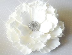 White Sugar Peony w/Rhinestones Wedding Cake by SUGARonTOPsugarart, $40.00