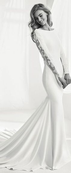 Elegant Tulle & Stretch Chiffon Bateau Neckline Mermaid Wedding Dress With Beaded Lace Appliques