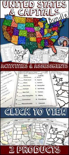 50 States and Capitals Bundle. 2 great products for one low price! Lots of activities and assessments to help your classroom learn US Geography.