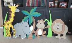 African Safari Murals for kid room - Giraffe, rhino, monkey, lion, grass blades, and tree
