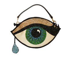 Green Glitter Eye Clutch Handbag with Teardrop by LunaontheMoon, £60.00