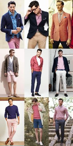 Men's Pink Trousers, T-Shirts, Shirts, Blazers and Shorts Outfit Inspiration Lookbook