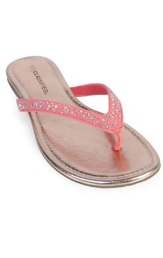 Deb Shops #coral #sandal with stones