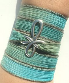 Cross Silk Wrap Bracelet Hot Blue Green Bohemian Yoga Jewelry Necklace Christmas Stocking Stuffer Unique Gift For Her Under 50 Item W12
