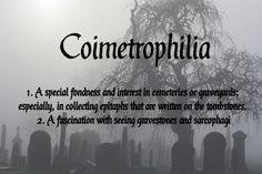 Coimetrophilia - interest in cemeteries or graveyards - gravestones