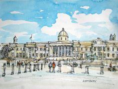 London Trafalgar Square 12 x 9 print signed by AndreVoyy on Etsy, $20.00