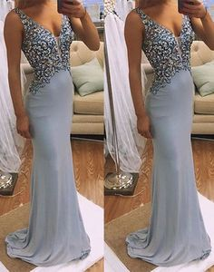 Prom Dress Princess, v neck mermaid long prom dress, evening dress Shop ball gown prom dresses and gowns and become a princess on prom night. prom ball gowns in every size, from juniors to plus size. V Neck Prom Dresses, Elegant Prom Dresses, Beaded Prom Dress, Formal Evening Dresses, Formal Gowns, Long Dresses, Dress Formal, Dress Long, Haute Couture