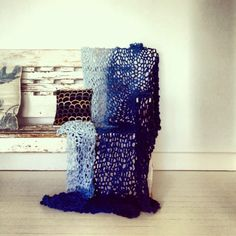 Little DAndelion hand knitted linen throw hand dyed by Shibori - Indigo hues