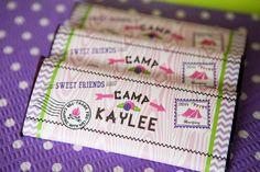 glam camping birthday party favors and chocolate bar wrappers