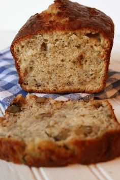 {Wednesday} Banana and Greek Yoghurt bread - I made this and can say it is the best recipe for banana bread I have ever tried! *Ingredients: 2 c flour 1/2 c 0% Greek yogurt 1 c ripe bananas, mashed (about 2 medium bananas) 2 eggs 1/2 c salted butter, softened 1/2 c brown sugar, packed 1 tsp baking soda 1 tsp baking powder 1 tsp cinnamon 1 c walnuts, chopped (optional) 1 1/2 tsp vanilla *Instructions:
