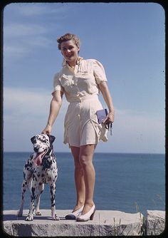 #photography #1940s #forties #style #fashion #pets #dogs #Dalmatian #dresses