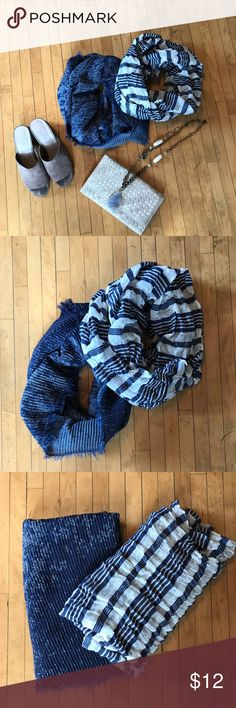 Gorgeous Bundle of 2 Infinity Scarves Gorgeous Bundle of 2 Infinity Scarves. Other items not for sale, the sale includes the 2 infinity scarves. Both Scarves in like new condition perfect condition, just worn once! Super flattering and great for any season! Accessories Scarves & Wraps