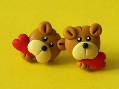 bear with heart stud earrings polymer clay fimo handmade