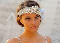 The Original Crystal Bridal Hair Bandeau Carey by DolorisPetunia, $600.00