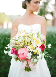 peony and anemone #bouquet with sweet peas, ferns and chamomile by Studio Fiore
