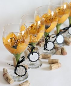 Bridesmaid hand painted wine glasses in a sunflower design.  Set of 6 - FREE personalization and dishwasher safe via Etsy
