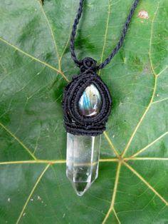 Labradorite and Quartz Crystal Macrame Healing Amulet - $110