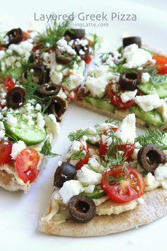 no-bake greek hummus pita pizza via Laughing Latte