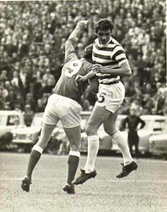 Celtic 3 Rangers 1 in Aug 1970 at Hampden Park. George Connelly heads just wide for Celtic in the Glasgow Cup Final.