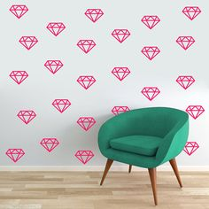 Diamonds - Nursery and Kids Room Shapes Wall Decals  Sizes Available: Small Includes: 12 Diamonds each 4 wide x 3 tall  Large Includes: 12