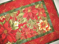 Christmas Table Runner with Poinsettias by PicketFenceFabric, $39.00
