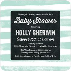 Beautifully Striped - Baby Shower Invitations - Picturebook - Mint - Green : Front