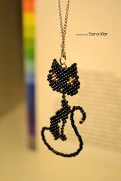 Beaded Cat Pattern for necklace, done in brick stitch DIY Seed Bead Patterns, Jewelry Patterns, Beading Patterns, Seed Bead Jewelry, Beaded Jewelry, Handmade Jewelry, Seed Beads, Beaded Crafts, Jewelry Crafts