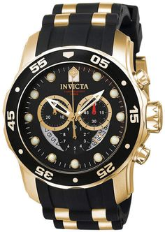 off - Invicta Men's 6981 Pro Diver Black Dress Watch - The super cool, black and gold Invicta Men's Pro Diver Collection Chronograph Black Dial Black Polyurethane Watch is a high-performance sports watch for the modern man. Men's Watches, Sport Watches, Luxury Watches, Cool Watches, Watches For Men, Wrist Watches, Black Watches, Unique Watches, Affordable Watches