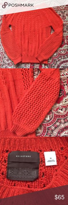 Anthropology sweater Gorgeous burnt orange/ red open knit sweater in good condition. Anthropologie Sweaters Crew & Scoop Necks