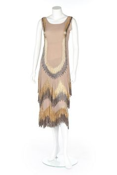 c. 1926-8 Chanel couture beaded beige chiffon flapper dress (back)