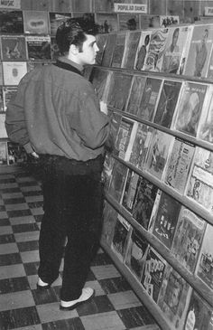 Elvis in a Record Store Memphis, 1957 by Railroad Jack, via Flickr