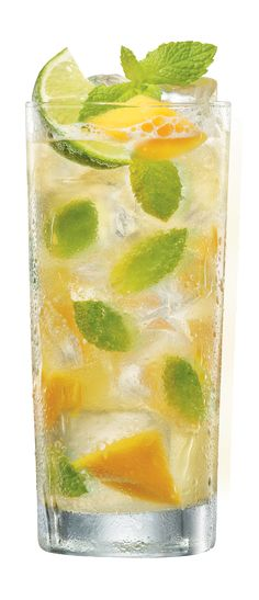 BACARDÍ Mango Mojito. INGREDIENTS: 2 oz BACARDÍ Mango Fusion Flavored Rum  , , 4 lime wedges  , , 12 fresh mint leaves  , , 2 heaping teaspoons of white sugar  , , Club soda  , , Sprig of fresh mint to garnish. METHOD: Gently press together the limes and sugar. Bruise the mint leaves by clapping them between your palms, rub them on the rim of the glass and drop them in. Next half fill the glass with crushed ice, add the BACARDÍ Mango Fusion rum and stir.  Top with crushed ice, a splash of…