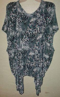 Yummy Plus Size Asymmetrical Top Cheetah Leopard Handkerchief 5x6x7x 32/34/36/38 #Yummy #PlusSize