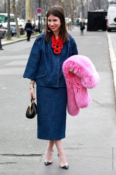 #NatashaGoldenberg and that tres interesting denim number with pink and red deets. so interesting. either Milan or Paris (sorry...4am... I can't remember which fashion week).